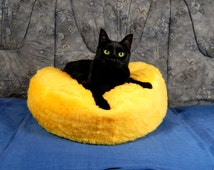 Cat bean bag bed fluffy yellow synthetic fur bed for your cat royal bed for your pets gift filled with bean filling with non slip material