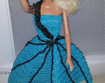 Crochet Barbie Dress, Fashion Doll Crocheted Clothing, Handmade Barbie Clothes,  Halloween Party Dress