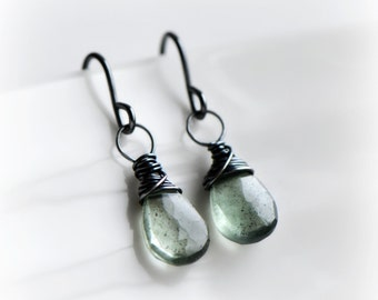 Aquamarine Earrings, Moss Aquamarine Gemstone Dangle Earrings in Oxidised Silver, Wire Wrapped Earrings in Moss Aquamarine - by Blissaria