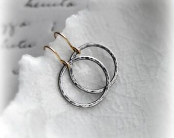 Oxidised Hoop Earrings, Minimalist Earrings, Sterling Silver Hoop Earrings, Hammered Hoop Earrings, Hoop Earrings Silver & Gold - Blissaria