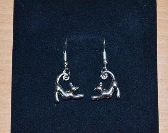 Cat in hand made Silver earrings