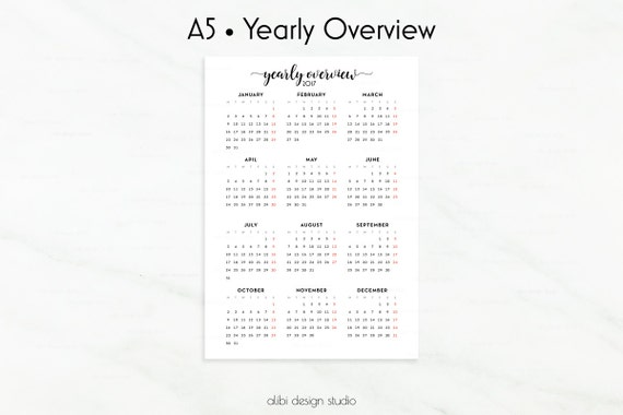 Year Calendar Overview : Yearly overview  calendar a by alibidesignstudio