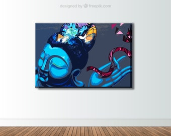 Abstract Blue Buddha Canvas - Buddhism Canvas Art
