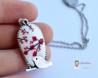Floral necklace, bird and flowers necklace, white and red pendant, bird necklace, birthday jewelry, gift for her