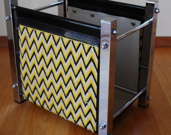 Mid Century Magazine Rack,  Chrome Magazine Rack with Yellow Chevron Pattern
