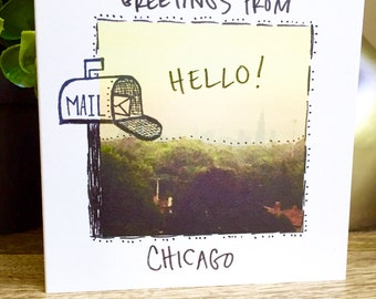 greetings from chicago, hello, cute greeting card, handwritten, hello  Chicago, snail mail, hello card, unique greeting card, sidesandwich