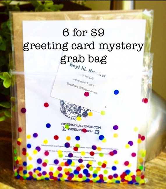Greeting Card Grab Bag, Funny Greeting Card, Sale, Perfectly Imperfect, Sidesandwich, Thank you, Boston Terrier, Handwritten cards for sale