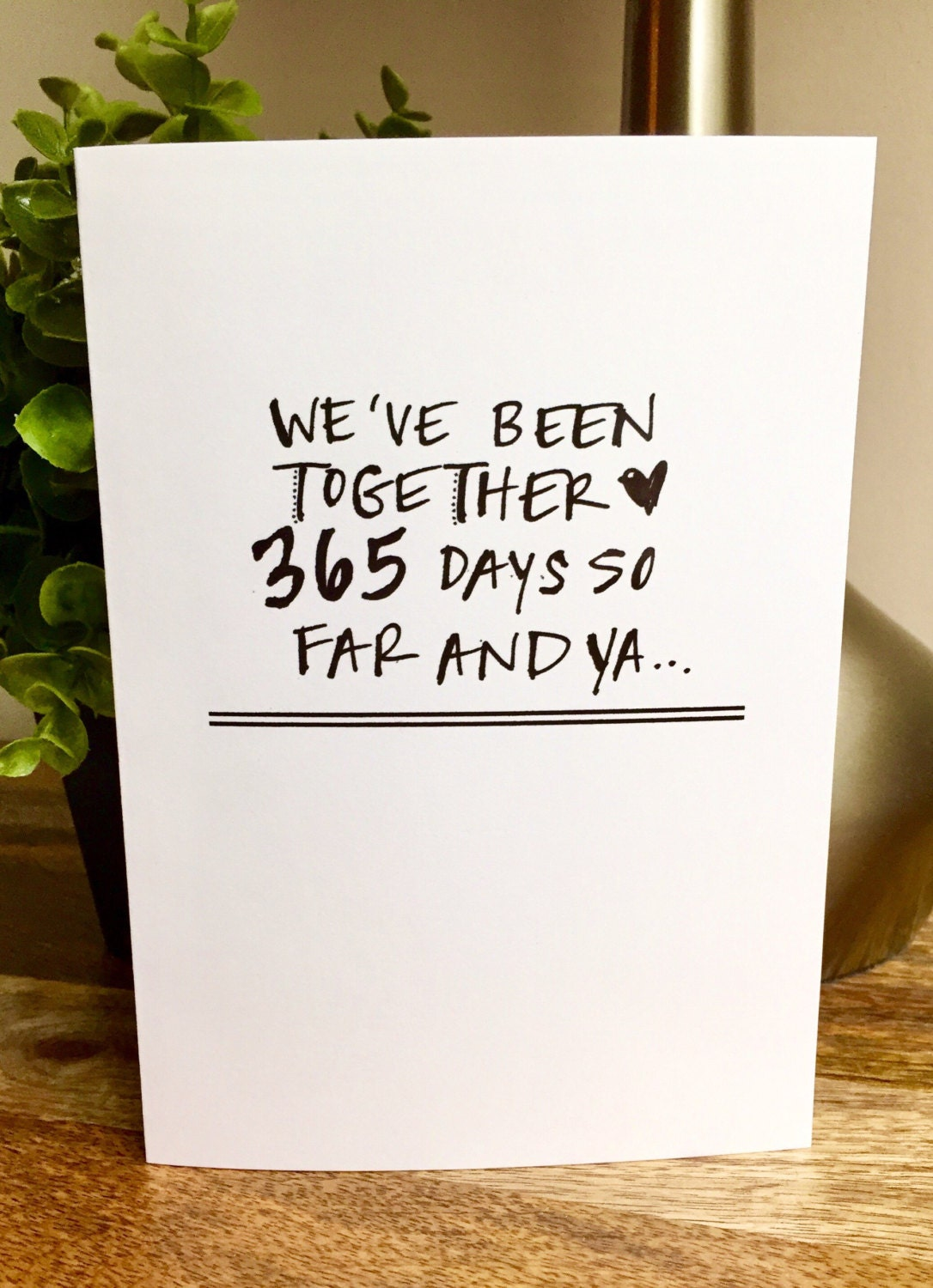 One year anniversary card for her paper