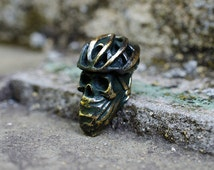 Paracord skull - Metal skull beads «Cyclist» of bronze. Big beads are handmade with unique designs!
