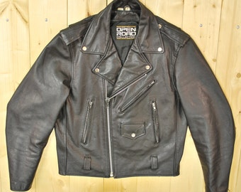 Vintage 1980's Black Leather Motorcycle Jacket / Open Road / Retro Collectable Rare