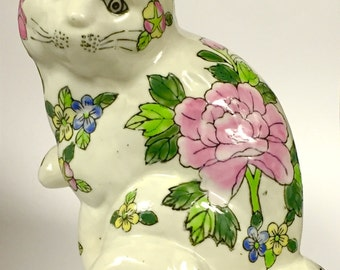 Hand Painted Ceramic Kitty With Beautiful Flowers and Felt Pads