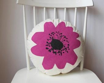 magenta anenome flower cushion