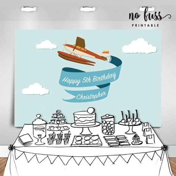 Airplane Backdrop  Party Banner  Poster  Signage  Personalised ...