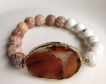 Agate Stone Half Earth Tone and Cream Bracelet