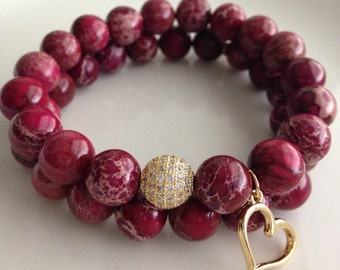 Burgundy & Gold Bracelet Set
