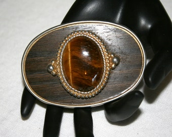Ladies Belt Buckle//Center Agate Stone//Oval Brass Buckle//Vintage Belt Buckle