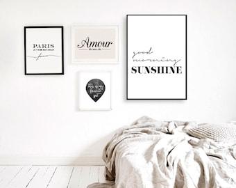 Good Morning Sunshine - Inspirational Poster - Printable Poster - Morning Sunshine Scandinavian Poster - Affiche Scandinave