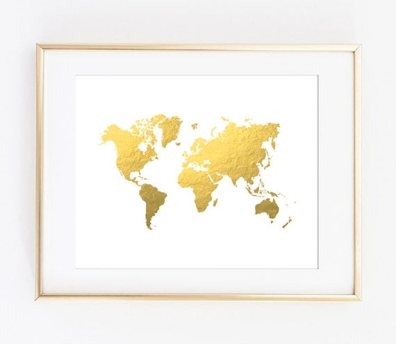 World map print gold world map gold map printable art world map print gold world map gold map printable art print travel print office decor gold printable map world map instant download sciox Image collections
