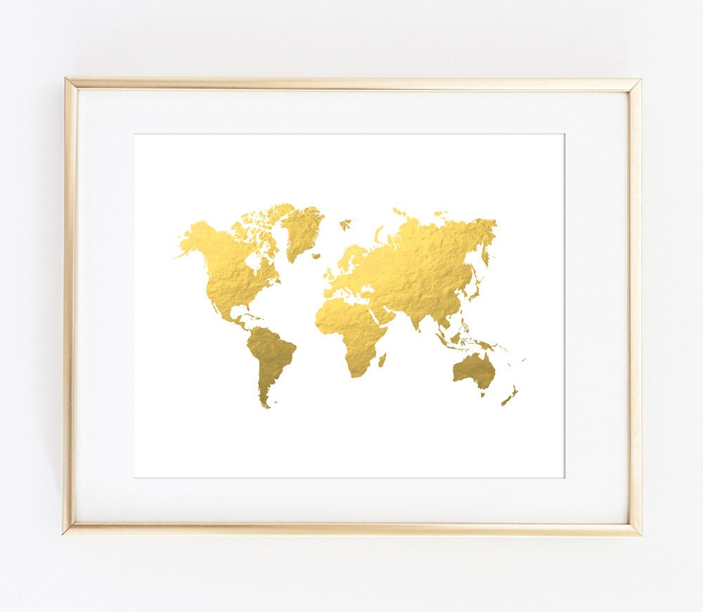 World Map Print, Gold World Map, Gold Map, Printable Art Print, Travel Print, Office Decor, Gold Printable Map, World Map, Instant Download