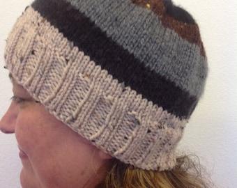 Earthtone striped knit hat