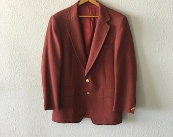 1980's Men's Maroon/Burgundy/Wine Vintage Blazer By Blacker Bros.