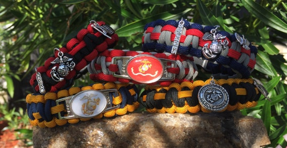 Military Paracord Bracelet, US Marines shoelace charmed emblem, choice of charms also