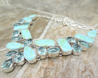 Blue Copper Turquoise and Blue Topaz Sterling Silver Necklace