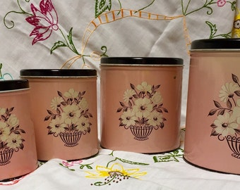 Mid Century Decoware Kitchen Canisters - Full Set of Four Pink and Black With White Flowers