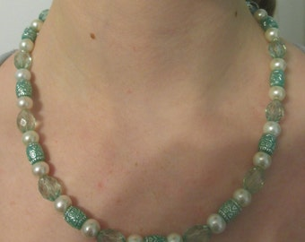 Teal and Pearl Beaded Necklace