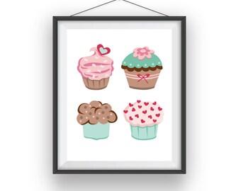 Cupcakes Print, Cupcakes wall print, Cupcakes room art, playroom decor, nursery art, wall decor, children wall art, 8x10 print