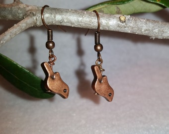 Brass bird drop earrings
