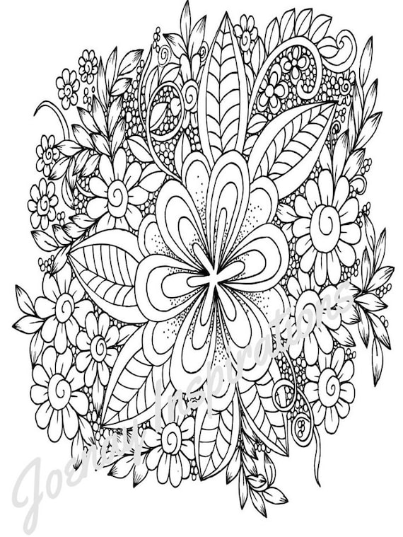 Adult Coloring Book, Printable Coloring Pages, Coloring Pages, Coloring Book for Adults, Instant Download, Fancy Flowers 3 page 12