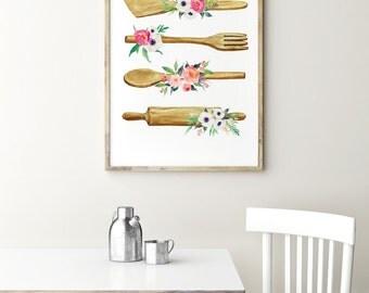Kitchen print - Kitchen utensils poster - Kitchen wall art - Watercolor art - Kitchen decor - Rustic kitchen decor - shabby kitchen decor