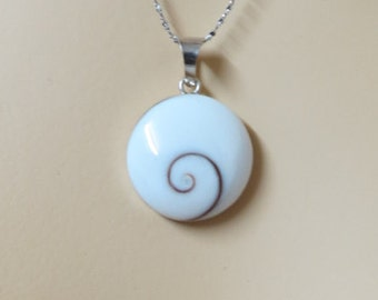 Beach Pendant, Mother Of Pearl Pendant, Sterling silver Shell pendant, Shell Necklace, Natural Inspierd, Unisex Pendant, Shiva eye Shell