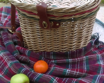 Picnic Wicker Basket with shoulder straps/  Vintage picnic basket/ Natural color with red and green stripes/ Gift for her Gift for him