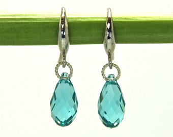 Blue Aqua Swarovki Crystal earrings, blue Crystal Earrings, Swarovski Crystal Earrings, Swarovski Sterling Silver Earrings