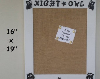 "Wooden Bulletin Board-Owl Bulletin Board-School bulletin board-Office board-Night owl gift-16"" x 19"" Handcrafted wood-White bulletin board"
