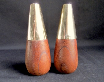 Vintage Conical Wood Salt & Pepper Shakers Mid Century Modern Gold Tone Tops Cone Scandinavian Style Mod Sixties 60's 1960's