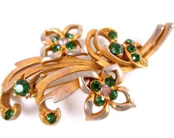 Vintage Emerald Green & Clear Rhinestone Brooch Pin Gold Tone Floral Spray