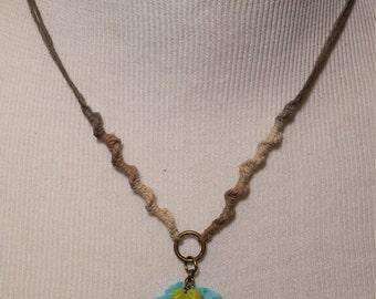 Jessie Hemp and Blue Flower Necklace