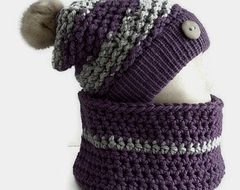 Tuque and collar neck purple and grey, wool Pompom recycled fur