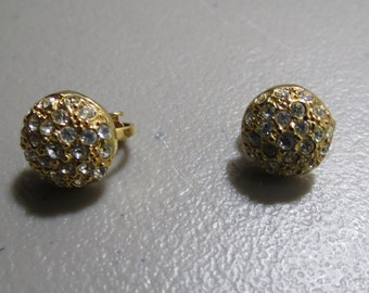 Vintage goldtone button clip on earrings with rhinestones