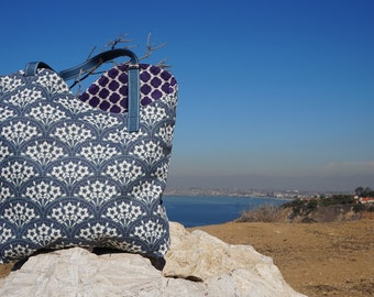 Handmade Purse/Tote Bag - Blue/Gray, Cream and Purple Canvas with Cute Purple and White Print Lining