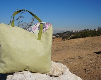 Handmade Purse/Tote Bag - Green Suede with Cute Green, Gray and Pink Paisley Print Lining