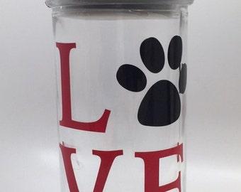 LOVE Dog Treat Jar, Dog Treat Jar, Personalized Dog Treat Jar, Personalized Incuded, Fast Shipping