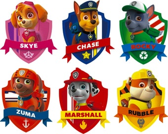 Paw Patrol Shield Badge Set Of 6 Wall Art Sticker Decals Childrens Bedroom Boys And Girls
