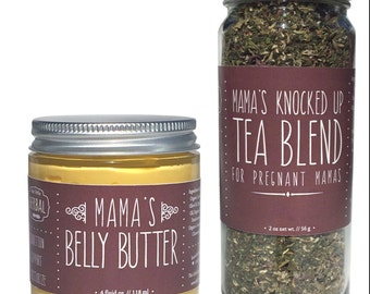 "Pregnancy Gift Set, Natural Pregnancy, Organic, Belly Butter, Pregnancy Tea, Baby Shower, ""Knocked Up Gift Set"""