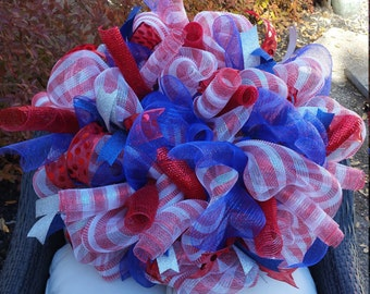 American Flag Deco Mesh Wreath - 4th of July Wreath - Patriotic Wreath Red, White, and Blue Wreath