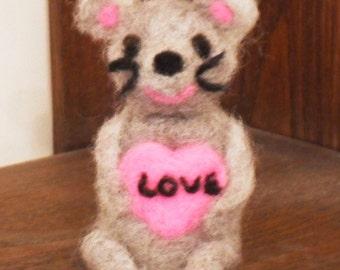 Needle Felted Valentine Mouse