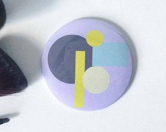 Purple Abstract Print Pocket Mirror- Small Mirror, Handbag Mirror, Stocking Filler, Small Gift